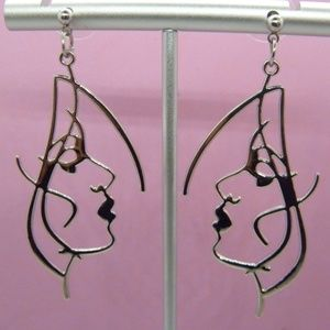 Silver Abstract Art Face Earrings